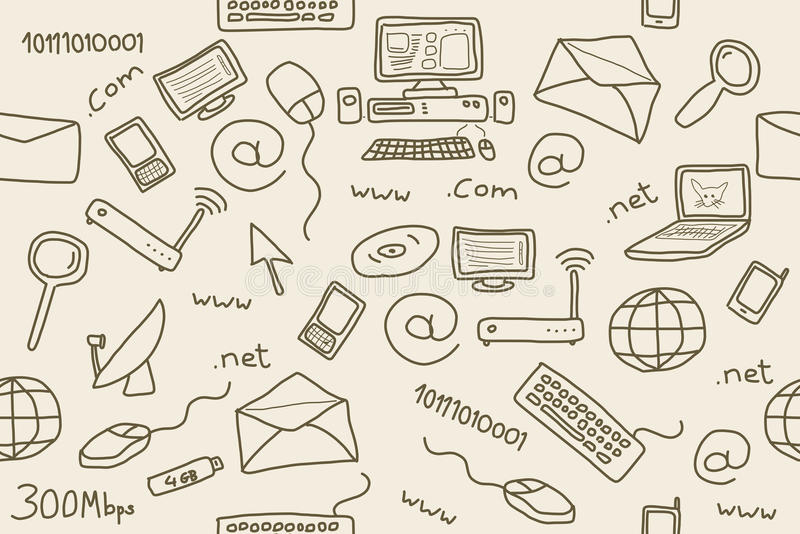 Internet. Seamless pattern with computer, internet and networking icons and symbols. Internet background doodle stock illustration