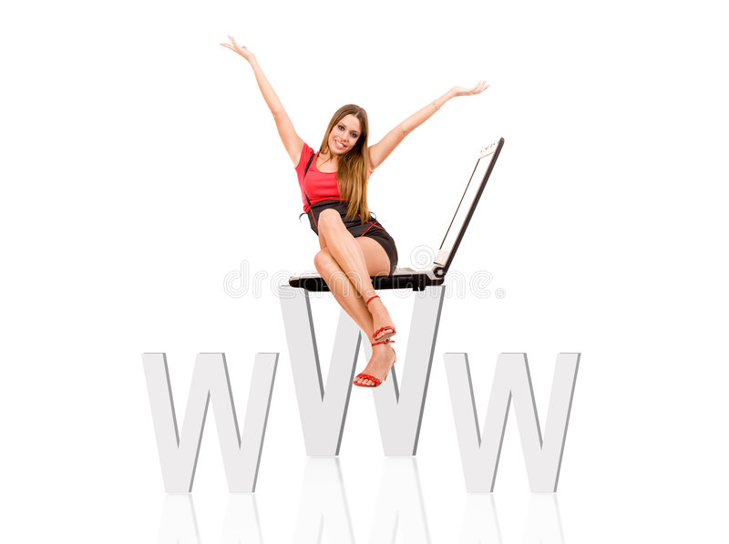 Internet. Concept by attractive woman siting on web symbol