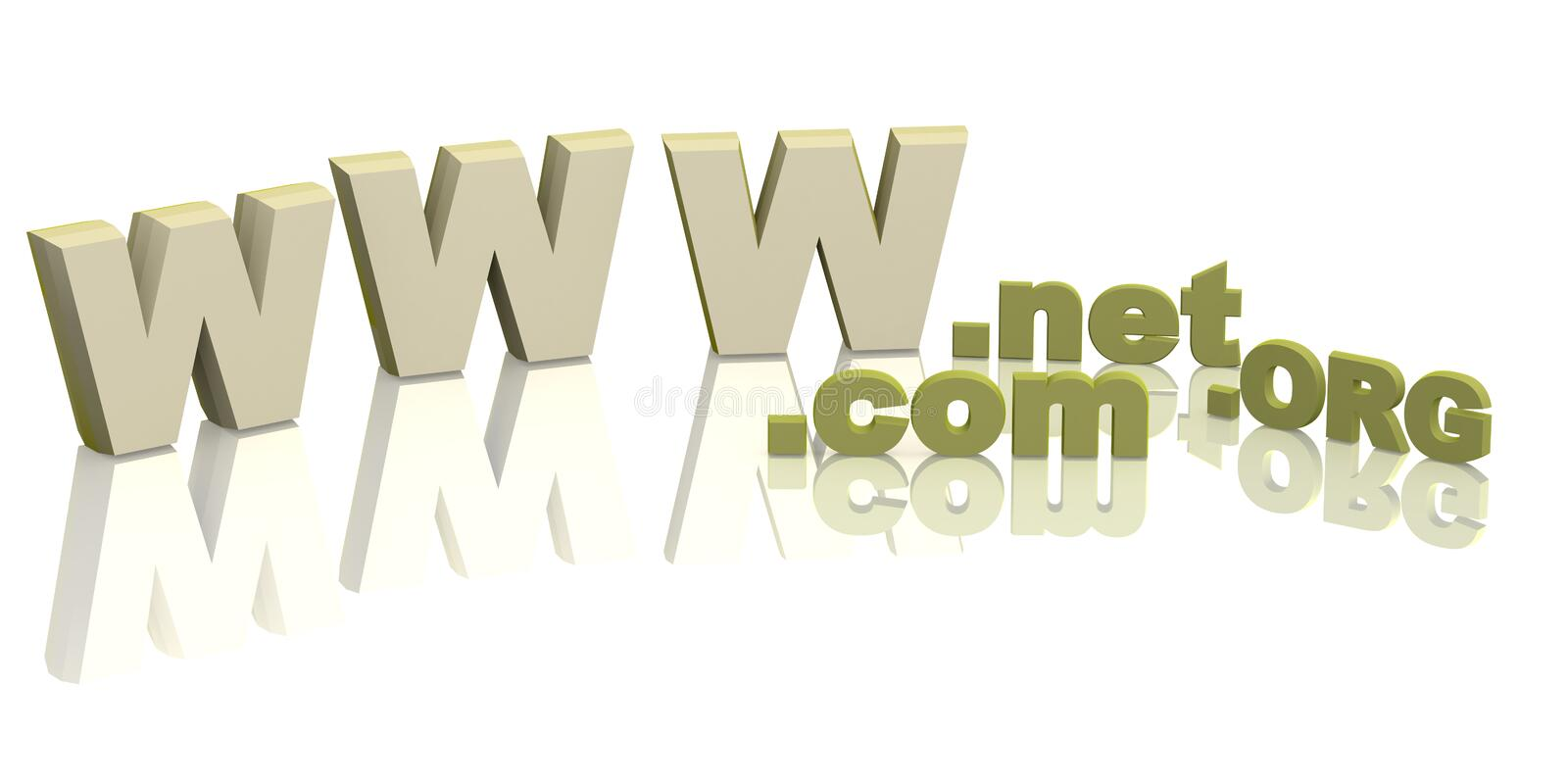 Internet. Letters the Internet-address - net, org, com. Objects over white royalty free illustration