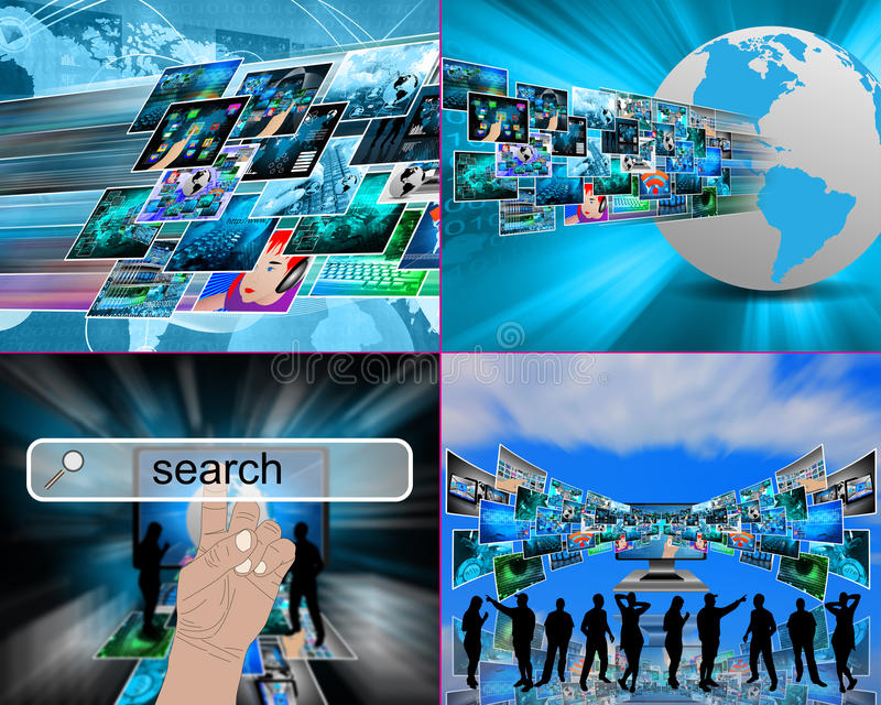 Internet abstraction. Abstract image on computers, the Internet, communications and high technology stock illustration