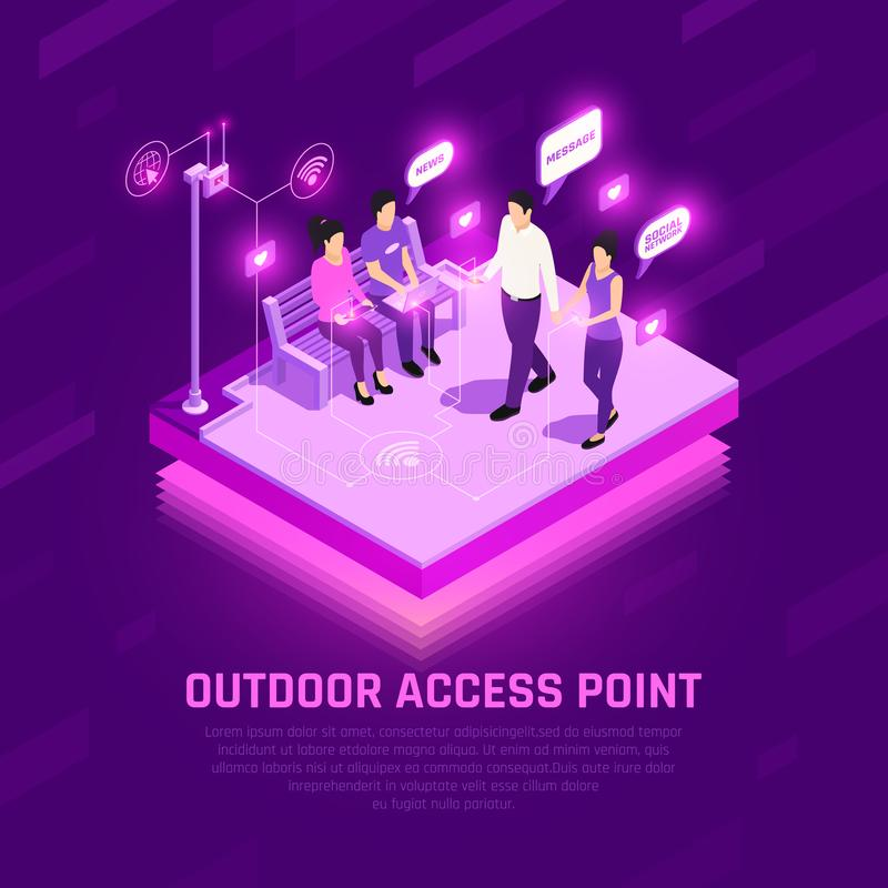 Internet Access Point Isometric Composition royalty free illustration