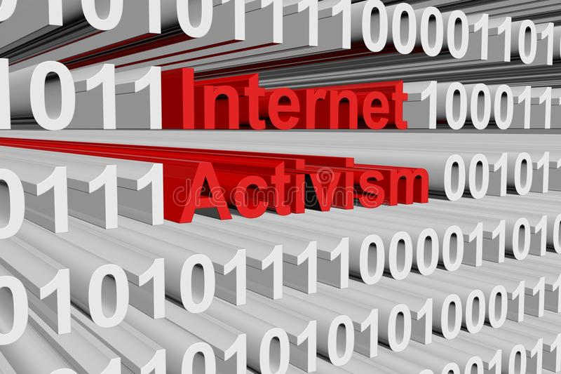 Internet activism. In the form of binary code, 3D illustration stock illustration
