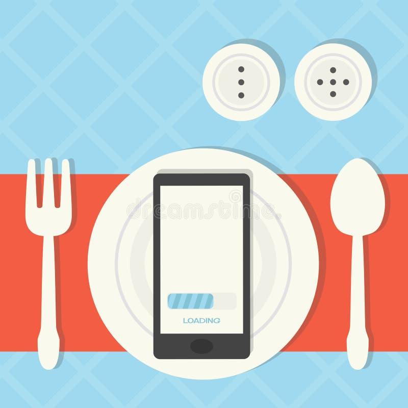 Internet addiction. Mobile - internet addiction concept design royalty free illustration