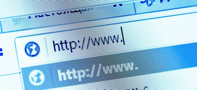 Internet address, Bildschirm lizenzfreie stockbilder