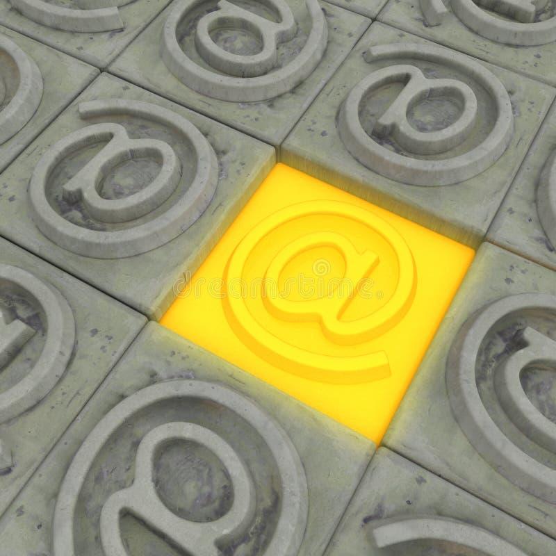 Stone Address Button. Internet address symbol square button stones, 3d illustration, horizontal royalty free illustration