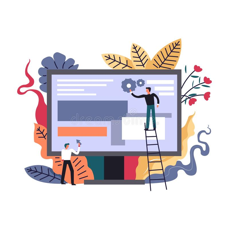 Internet advancing technologies, developers optimizing web pages on screen. Vector. Improvement of search results and applications. Men with cogwheels gears and stock illustration