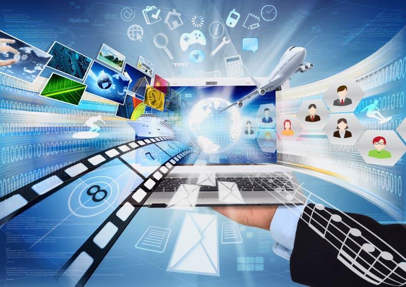 Internet & compartecipazione di multimedia illustrazione vettoriale
