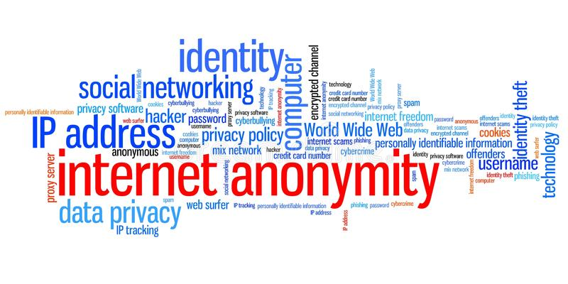 Internet anonymity. Issues and concepts word cloud illustration. Word collage concept royalty free illustration