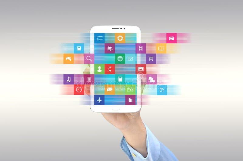 Internet application on smart phone stock illustration