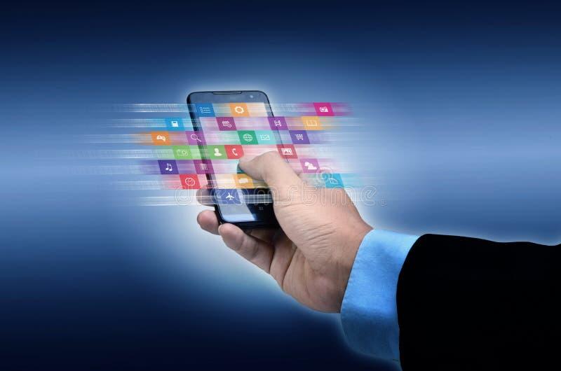 Internet application on smart phone vector illustration