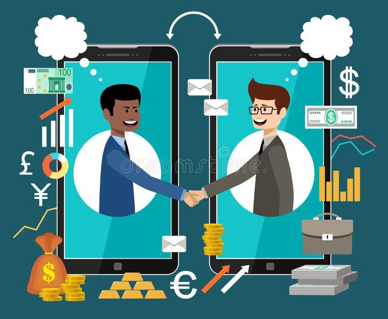 Internet-Arbeitskonzept Geld überall verdienen teilhaberschaft stock abbildung