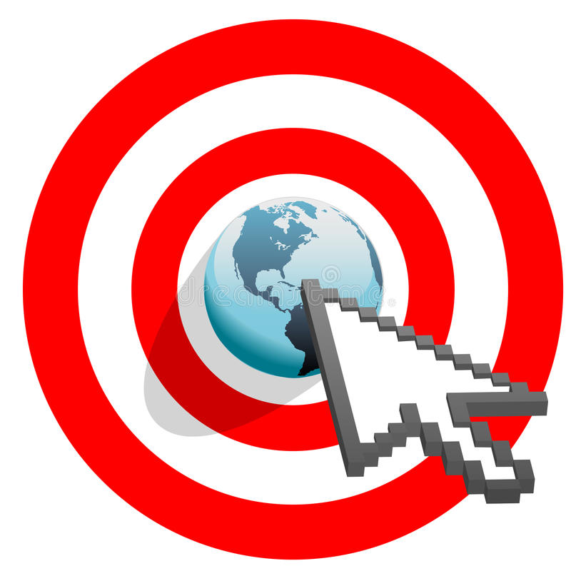 Internet arrow clicks targeted world bulls eye vector illustration