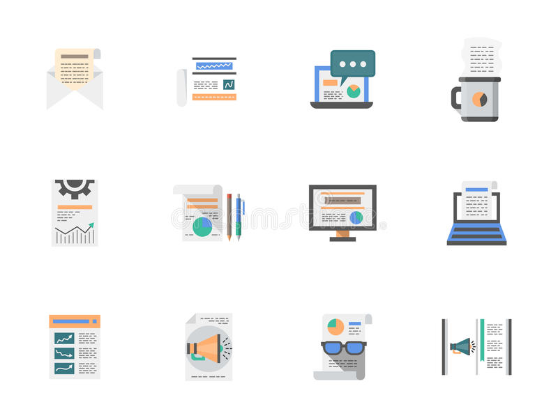 Internet articles flat color icons set royalty free illustration