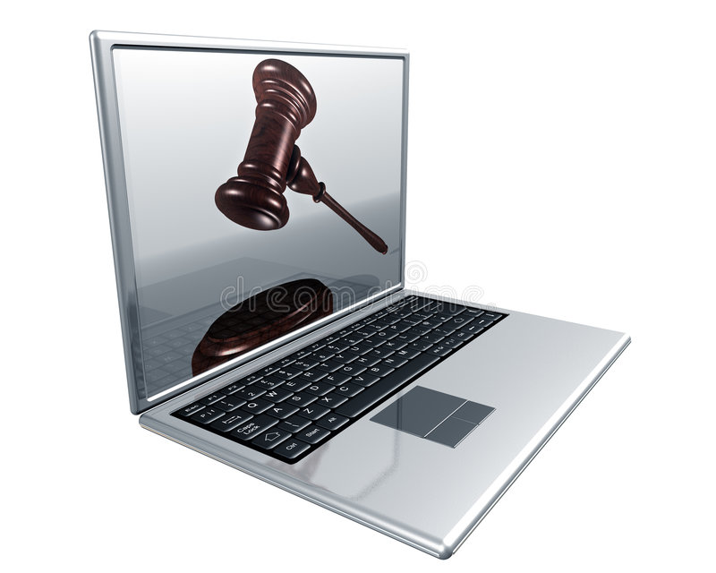 Internet Auction. A laptop with a gavel on the screen representing Internet auctions