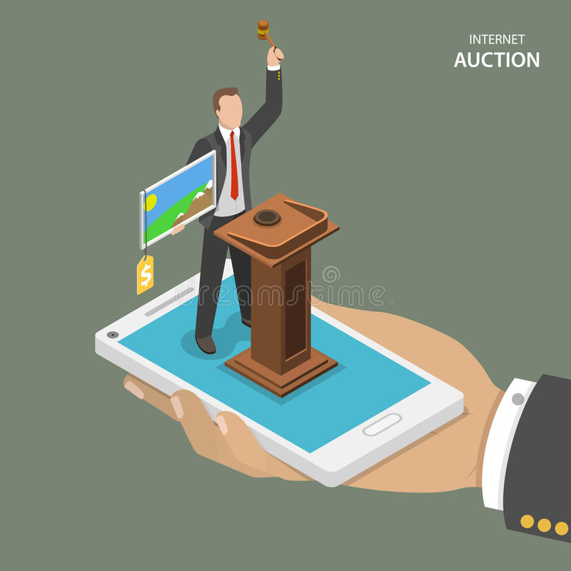 Internet auction isometric flat vector concept. stock illustration