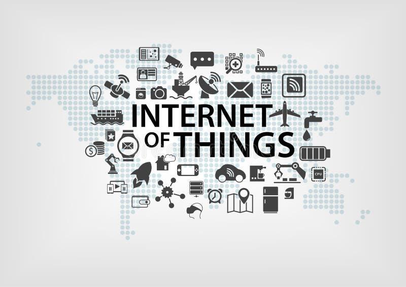 Internet av begreppet för saker (IOT) med världskartan och förbindelseapparater som illustration vektor illustrationer