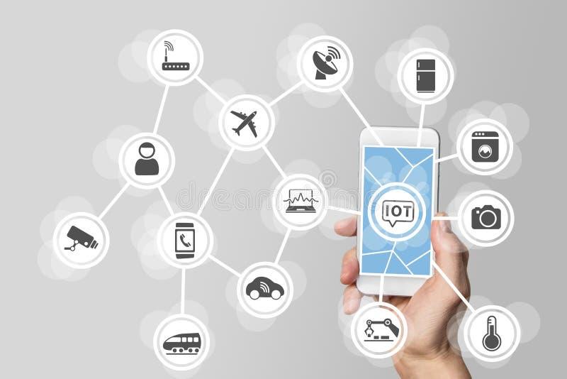 Internet av begreppet för saker som (IOT) illustreras av den moderna smartphonen som klarar av förbindelseobjekt fotografering för bildbyråer