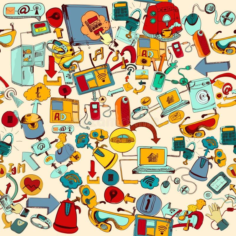 Internet av sömlös saker stock illustrationer