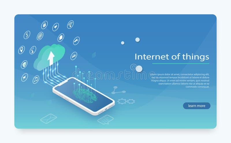 Internet av saker IOT, apparater och uppkopplingsmöjlighetbegrepp på ett nätverk, moln på mitten stock illustrationer