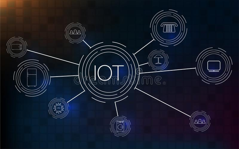 Internet av saker IOT, moln på mitten, apparater och uppkopplingsmöjlighetbegrepp på ett nätverk royaltyfri illustrationer