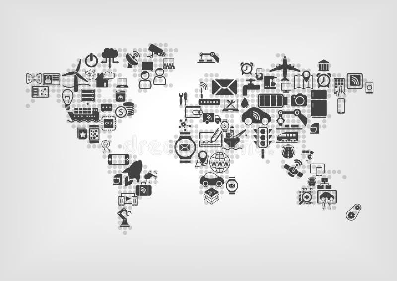 Internet av saker (IOT) och det globala uppkopplingsmöjlighetbegreppet Världskarta av förbindelsesmarta apparater stock illustrationer