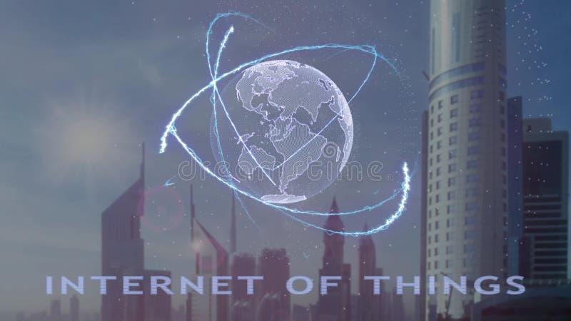 Internet av saker smsar med hologrammet 3d av planetjorden mot bakgrunden av den moderna metropolisen stock illustrationer