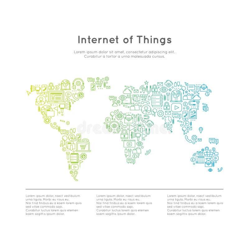 Internet av sakerbegreppet med världskartan royaltyfri illustrationer