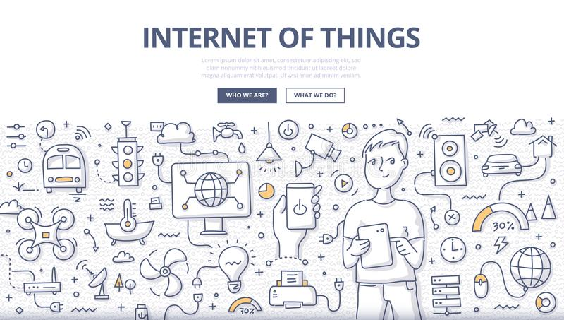 Internet av sakerklotterbegreppet royaltyfri illustrationer