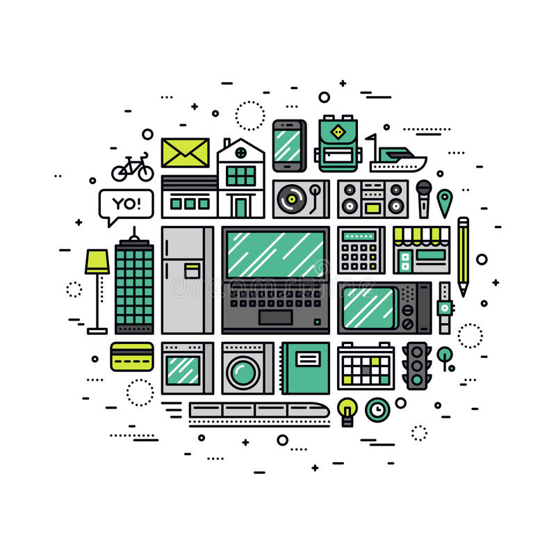 Internet av sakerlinjen stilillustration royaltyfri illustrationer