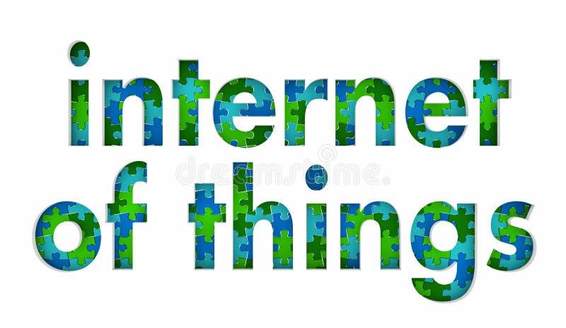 Internet av sakeruppkopplingsmöjlighetpusslet lappar tillsammans 3d Illust royaltyfri illustrationer