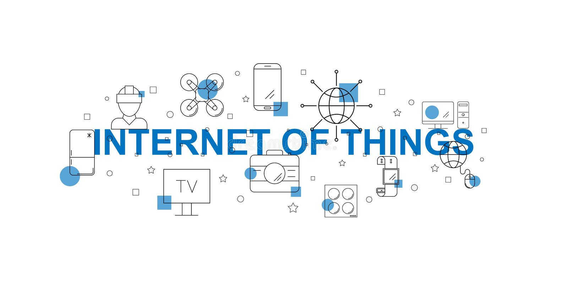 Internet av sakervektorbanret Ord med linjen symbol royaltyfri illustrationer