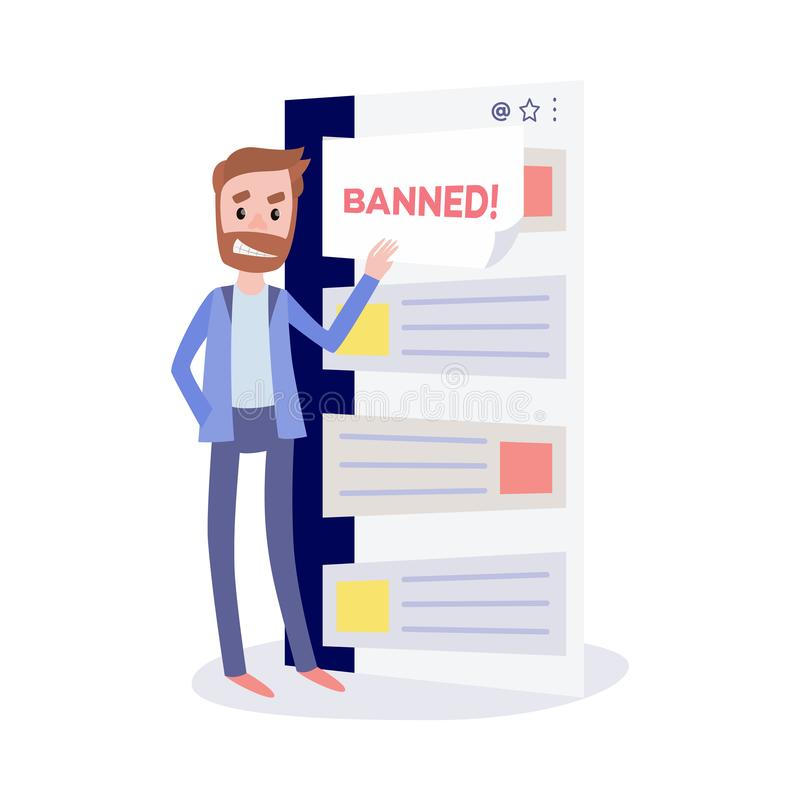 Internet ban bypass concept with young bearded man opening closed messages in chat. Internet ban bypass concept with young bearded man with insidious smirk vector illustration