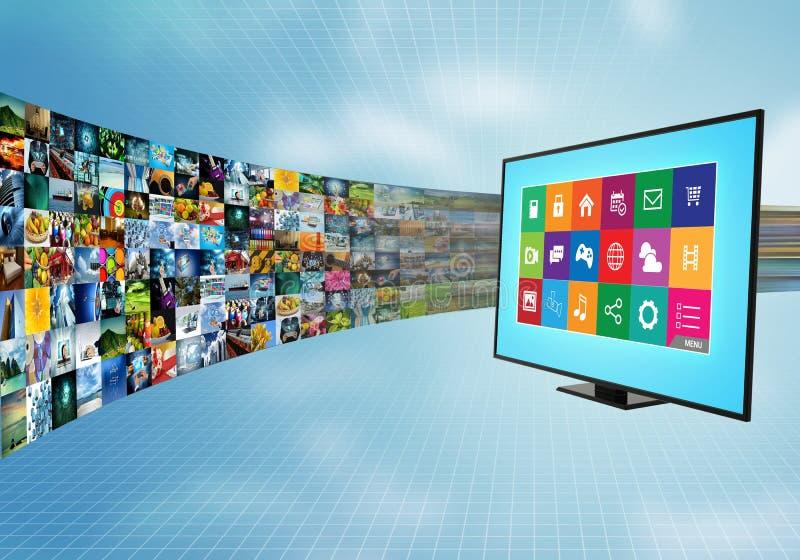Internet a banda larga e che scorre spettacolo di multimedia illustrazione di stock