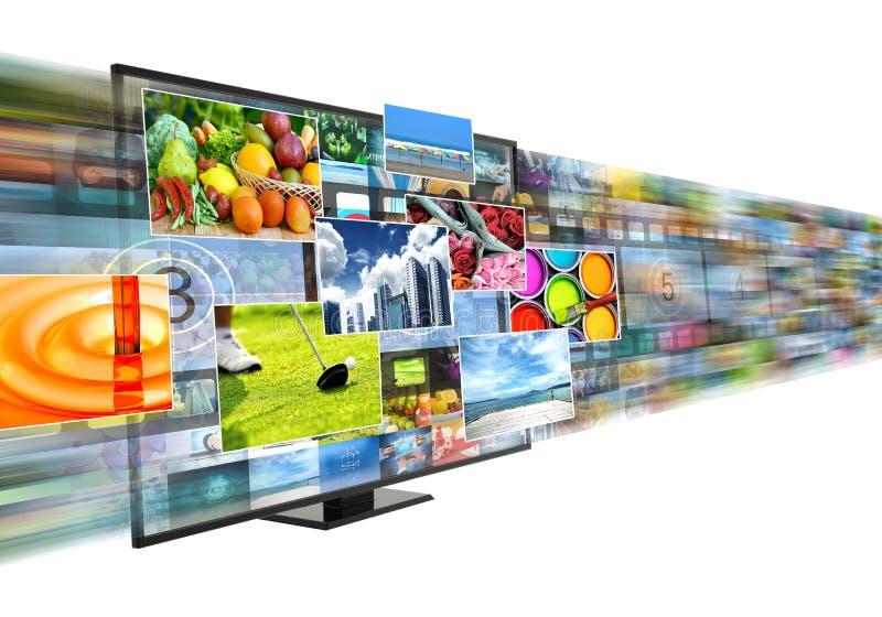 Internet a banda larga e che scorre spettacolo di multimedia illustrazione vettoriale
