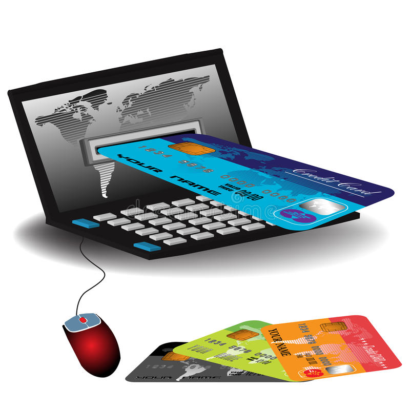 Internet banking. Abstract colorful illustration with a credit card entering through a laptop's screen. Internet banking theme royalty free illustration