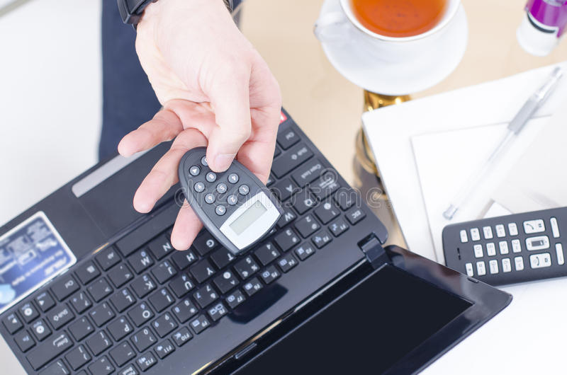 Internet Banking. A close look to somebody using internet banking royalty free stock photos