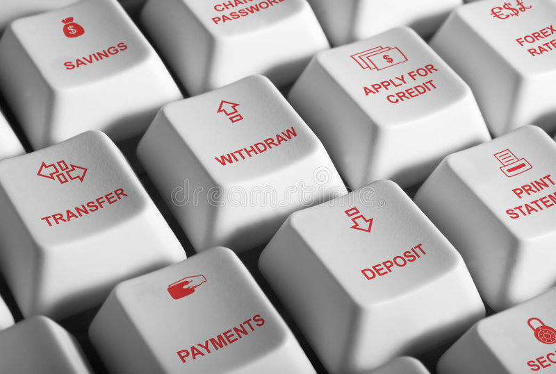 Internet banking. Image of computer keys with internet banking activities