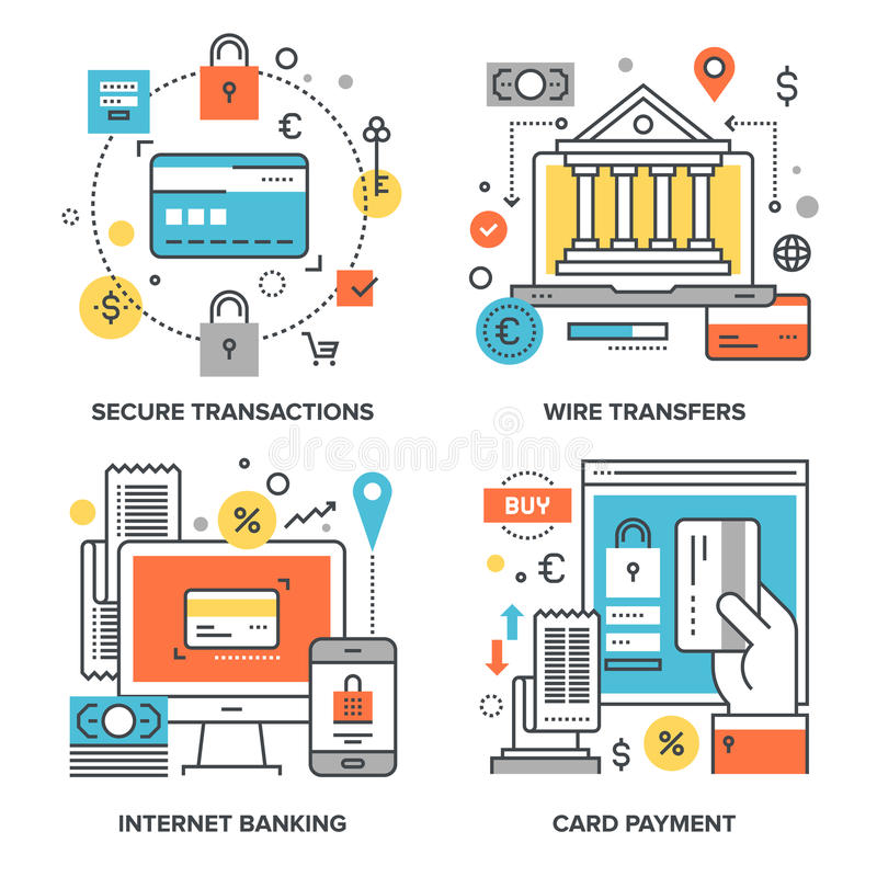 Internet Banking Concepts. Vector set of conceptual flat line illustrations on following themes - secure transactions, wire transfers, internet banking, card stock illustration