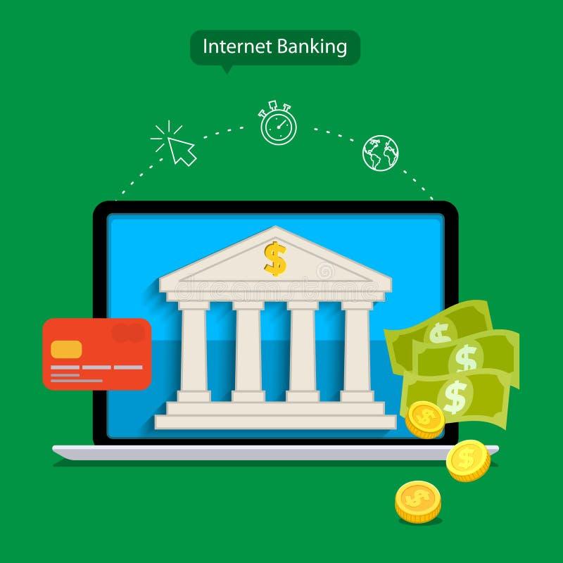 Internet banking. Flat design concepts of internet banking. Vector illustration stock illustration