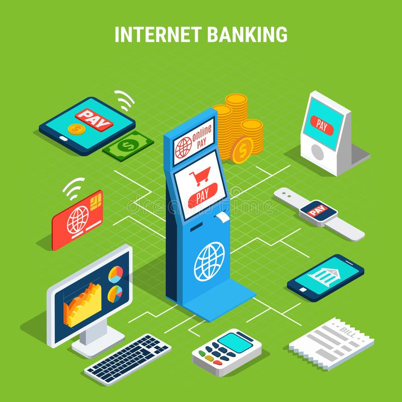 Internet Banking Isometric Flowchart. On green background with online payment by mobile devices or terminals vector illustration royalty free illustration
