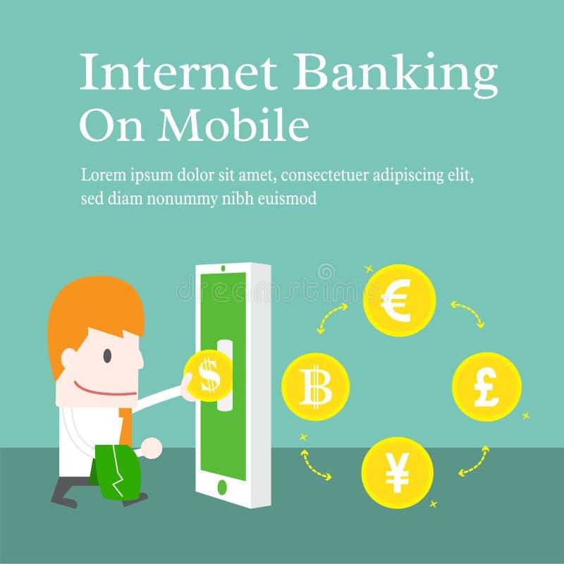 Internet banking no móbil ilustração stock