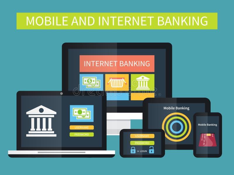 Internet banking, transação em linha Operação bancária móvel em dispositivos diferentes ilustração royalty free