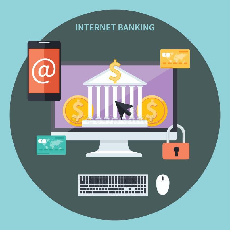 Internet-bankwezen en het concept van de veiligheidsstorting vector illustratie