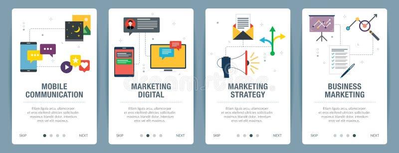 Internet banner set of communication, marketing and strategy icons stock illustration