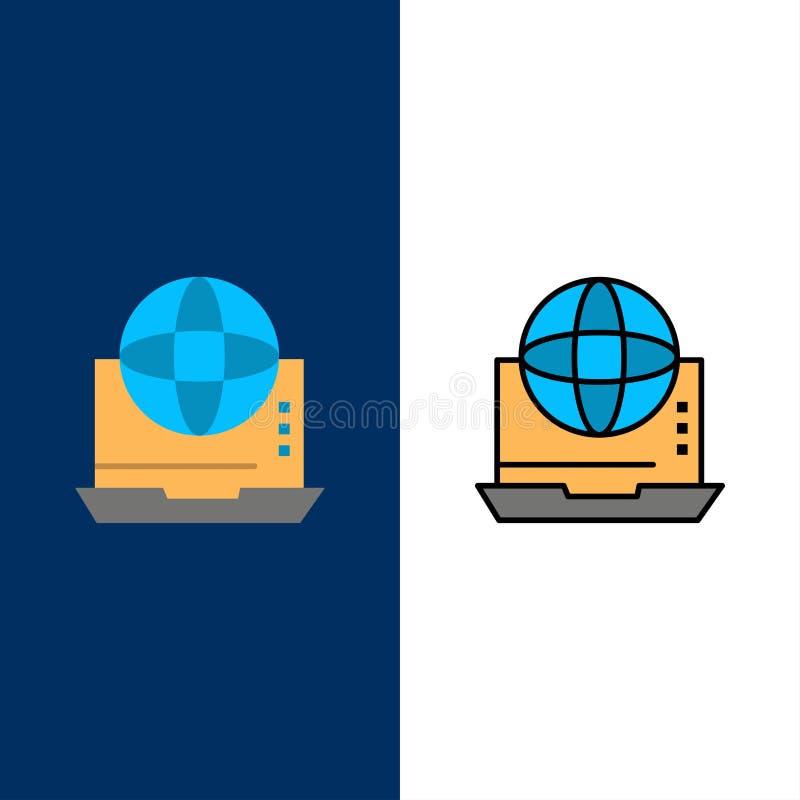 Internet, biznes, komunikacja, związek, sieć, Online ikony Mieszkanie i linia Wypełniający ikony Ustalony Wektorowy Błękitny tło royalty ilustracja