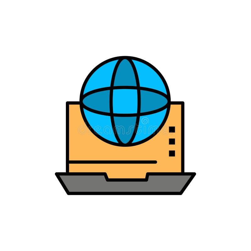 Internet, biznes, komunikacja, związek, sieć, Online Płaska kolor ikona Wektorowy ikona sztandaru szablon ilustracja wektor