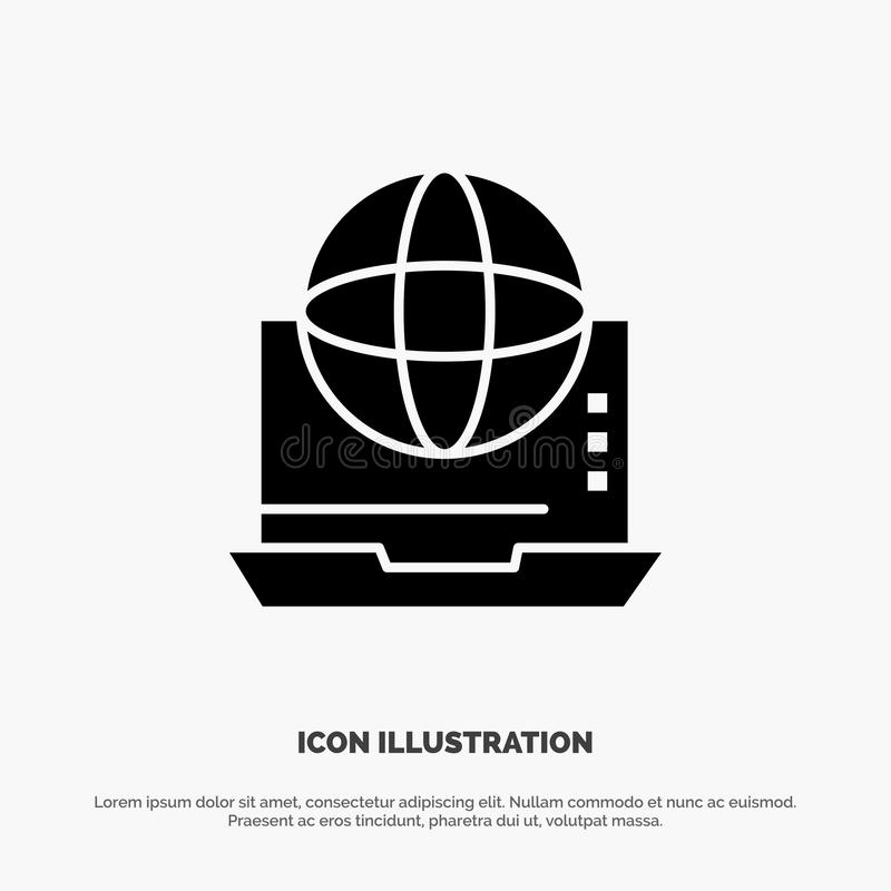 Internet, biznes, komunikacja, związek, sieć, Online stały glif ikony wektor ilustracji