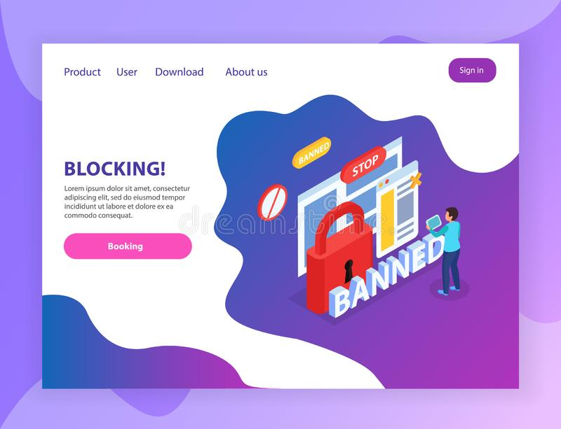 Internet Blocking Landing Page. Internet website blocking abusive users  isometric landing page with banned stop lock prohibition signs symbols vector royalty free illustration