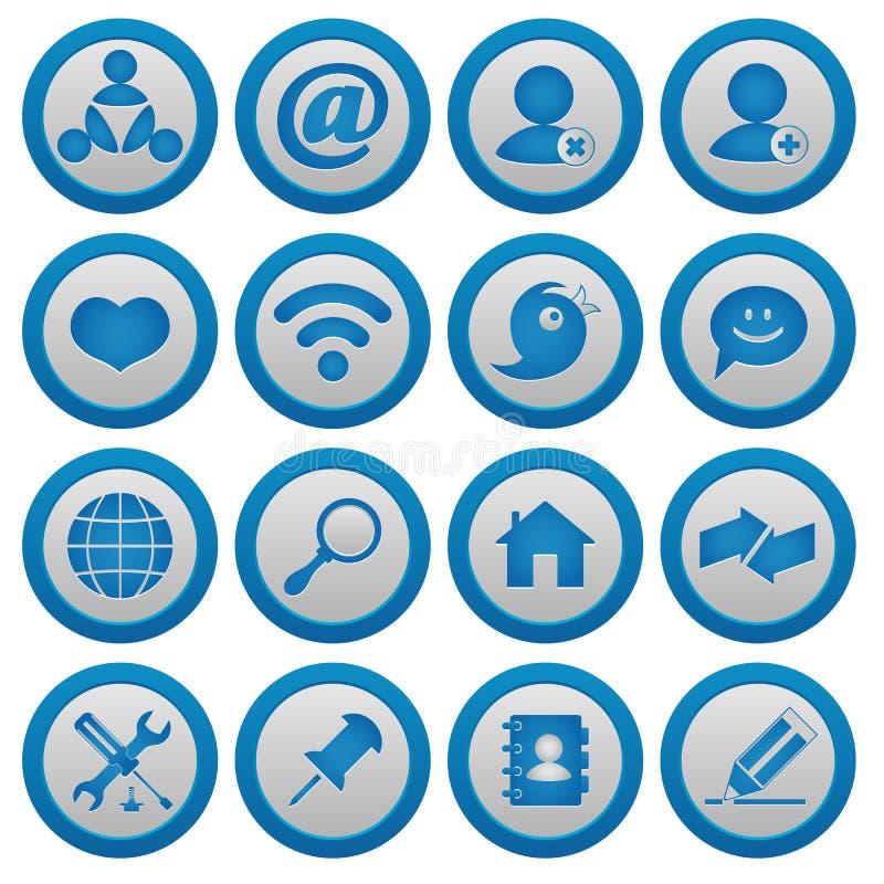 Internet and blog icons set royalty free illustration