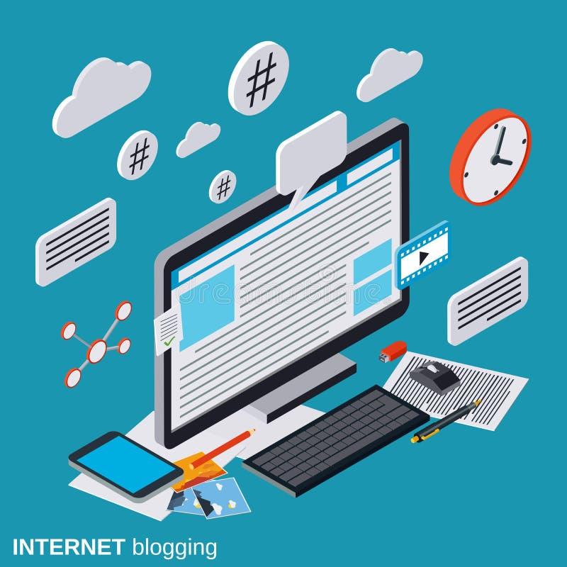 Internet blogging, blog management, web publication vector concept. Internet blogging, blog management, web publication flat isometric vector concept royalty free illustration